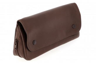 Blague à tabac 3 poches XL (cuir brun clair)